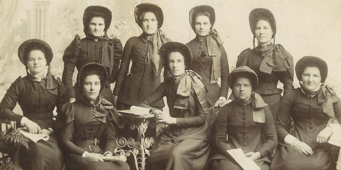 A group of five early Salvationist women in New Zealand. Source: Booth College of Mission Heritage  and Archives Centre.